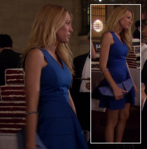 Serena's cobalt blue dress and clutch on Gossip Girl