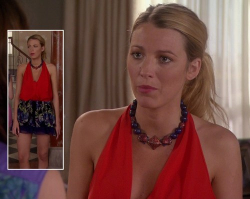 Serena's red halter top with floral skirt on Gossip Girl
