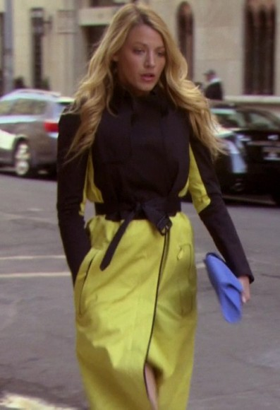 Serena's black and yellow coat on Gossip Girl