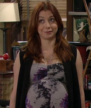 Lily's grey, purple and black halterneck maternity maxi dress on How I Met Your Mother