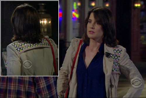 Robin's beige coat with aztec pattern on How I Met Your Mother