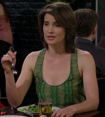Robin's green and beige stripe patterned top on How I Met Your Mother