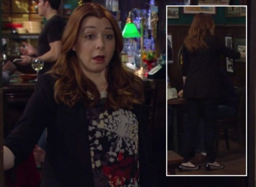 Lily's firework/flower style top with capped flats on HIMYM