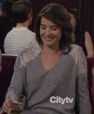 Robin's grey sweater with lace shoulder detail on How I Met Your Mother