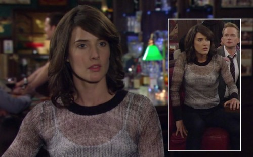 Robin's sheer sweater with black trim on HIMYM