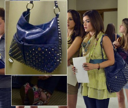 Aria's lime green ruffle top and scarf with studded blue handbag on Pretty Little Liars