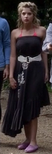 Hanna's black asymmetric maxi dress on Pretty Little Liars