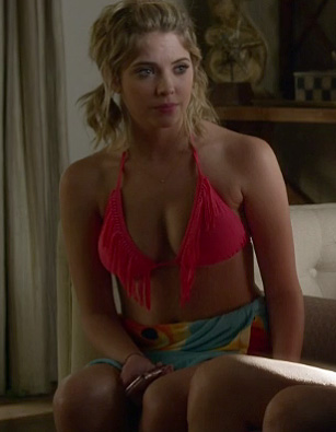 Hanna's pink fringe bikini on Pretty Little Liars