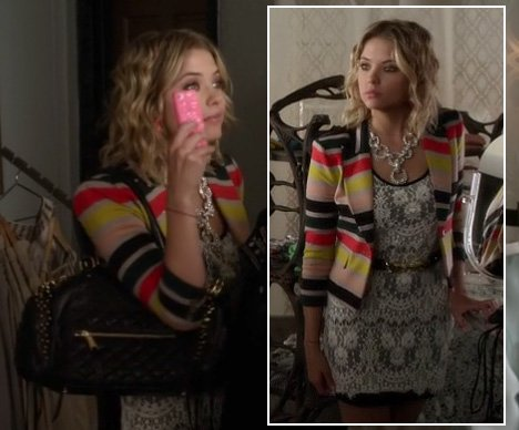 Hanna's striped blazer and white lace dress on Pretty Little Liars