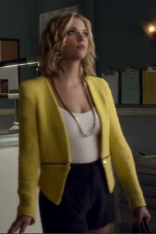 Hanna's yellow Zara blazer on PLL