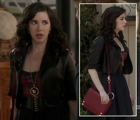 Jane's cropped leather jacket, red dress and bag on Jane by Design