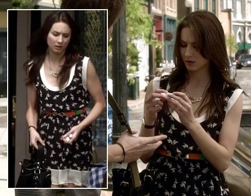 Spencer's bird print dress on PLL
