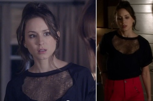 Spencer's black top with chest cutout on PLL