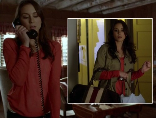 Spencer's striped bag and 3/4 sleeve coat on PLL