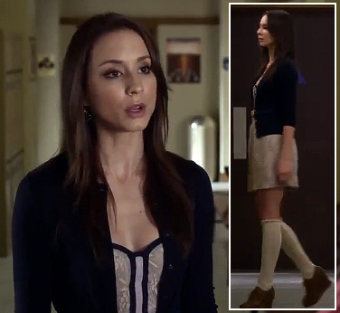 Spencer's oxford wedges with knee high socks and white/navy lace dress on Pretty Little Liars