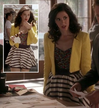 Jane's striped skirt and yellow jacket on Jane by Design