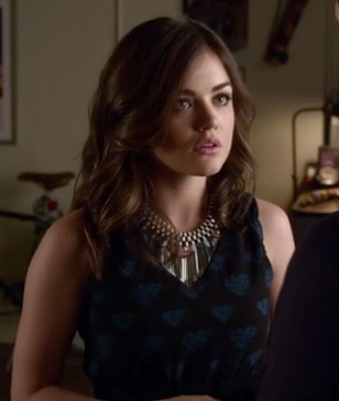 Aria's black and blue heart dress on PLL
