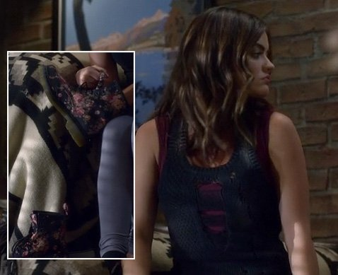 Aria's floral boots worn with knit tank dress and grey tights on Pretty Little Liars