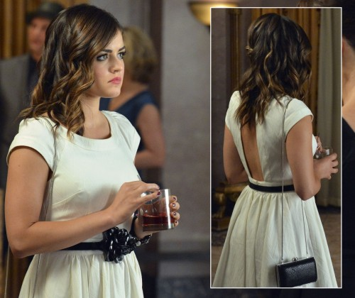 Aria's white backless dress on PLL