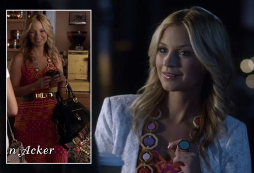 Cece's pink/orange maxi dress and white lace blazer on Pretty Little Liars
