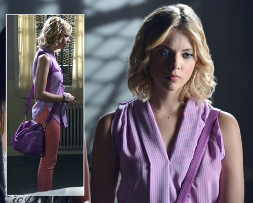 Hanna's purple striped top with orange jeans and purple bag on Pretty Little Liars