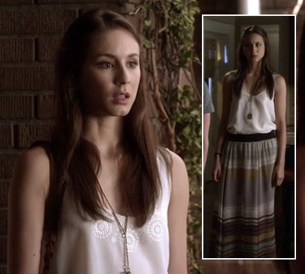Spencer's striped maxi skirt on Pretty Little Liars
