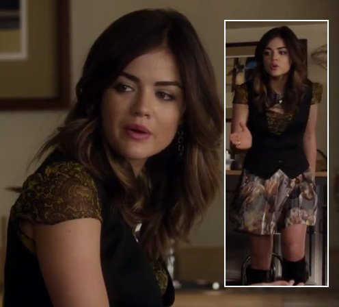 Aria's yellow paisley top with black vest on Pretty Little Liars