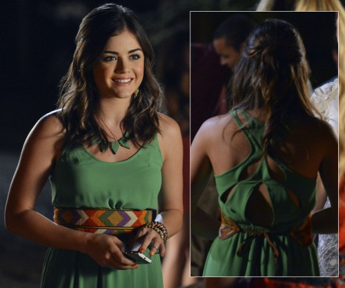 Aria's green dress with cutout back and spiked necklace on Pretty Little Liars