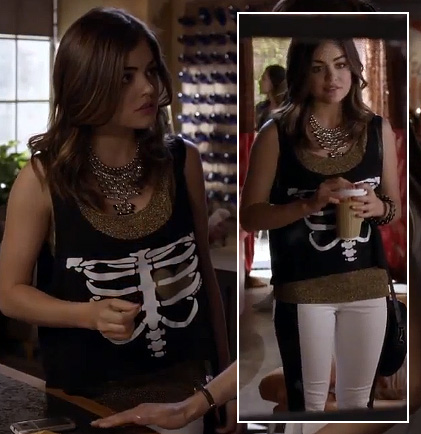 Aria's skeleton/rib cage shirt with black & white pants on Pretty Little Liars
