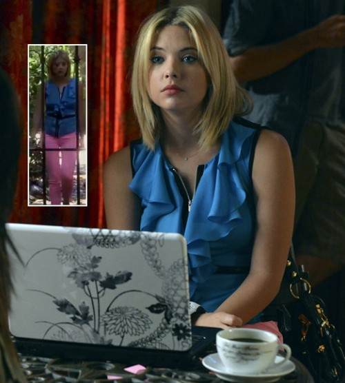 Hanna's pastel pink jeans and laptop cover on PLL