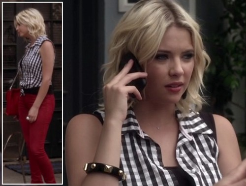 Hanna's gingham check top and red jeans on PLL
