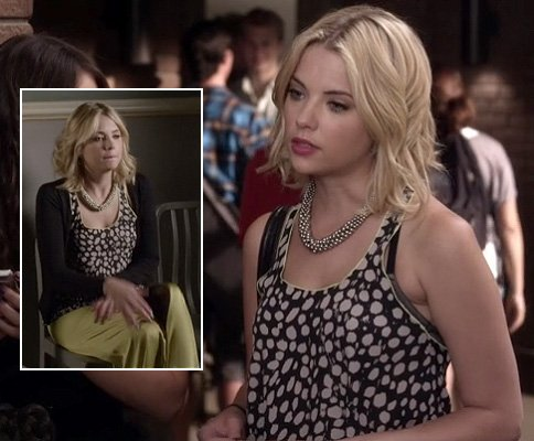 Hanna's black and white spot tank top and lime maxi skirt on Pretty Little Liars