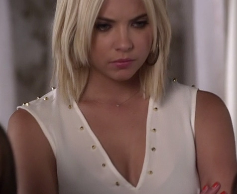 Hanna's white studded v-neck blouse on Pretty Little Liars