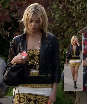 Hanna's yellow mini dress, leather jacket and black studded bag on Pretty Little Liars