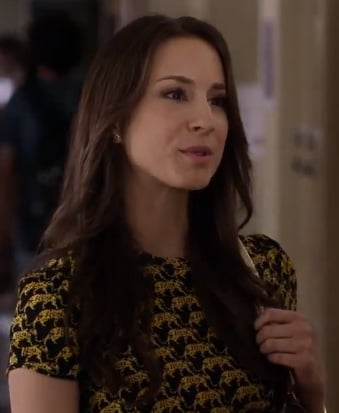 Spencer's black and yellow elephant print peplum top on Pretty Little Liars
