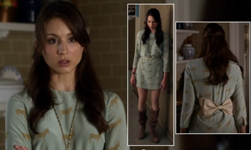 Spencer's green horse/donkey print dress and brown boots on PLL