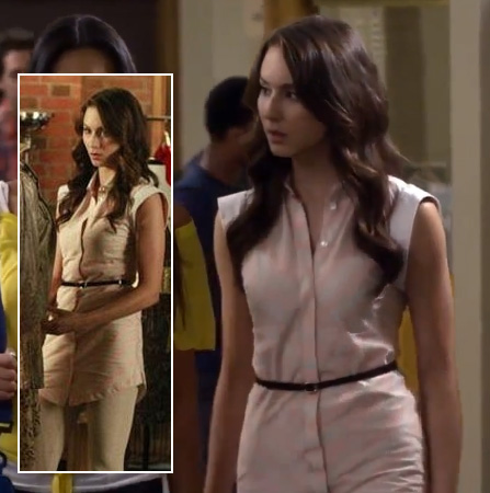 Spencer's pink striped top with white sleeves on Pretty Little Liars