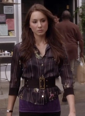 Spencer's navy striped shirt and wide belt on Pretty Little Liars