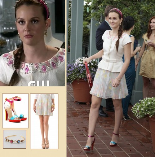 Blair Waldorfs pink and blue heels and jewel headband on Gossip Girl