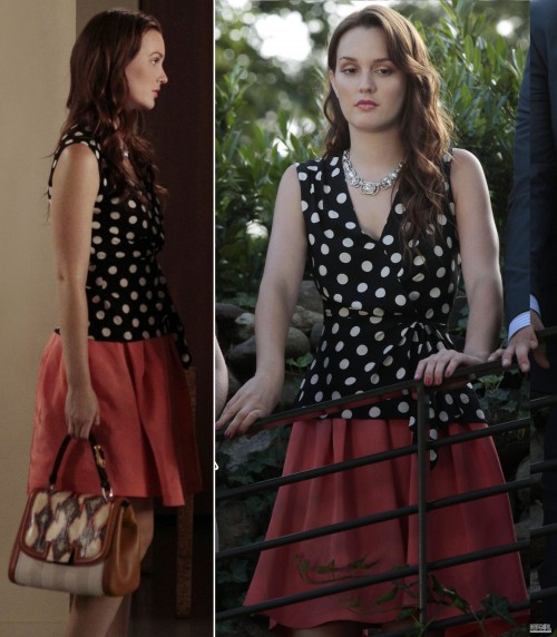 Blair's polka dot wrap top and red skirt on Gossip Girl season 6