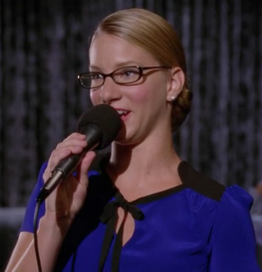 Brittany's blue and black top on the debate on Glee