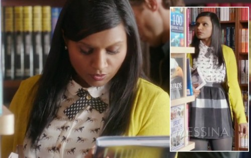 Mindy's horse print top and check print skirt on Mindy Project
