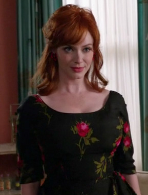 Joan's black rose dress on Mad Men