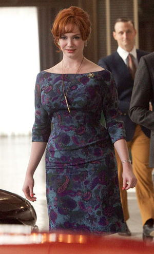 Joan's purple and blue off boat neck dress on Mad Men