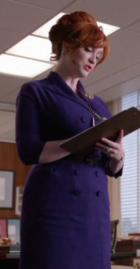 Joan's purple coat style dress on Mad Men