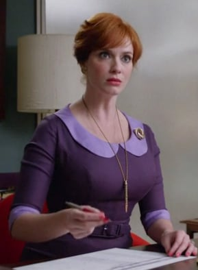Joanie's purple peter pan collared dress on Mad Men