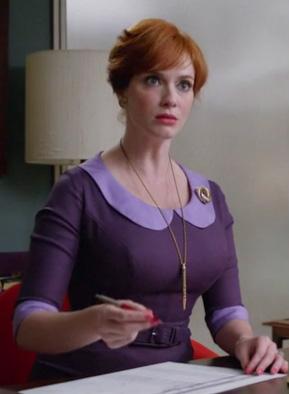 WornOnTV: Joan's purple peter pan collar dress on Mad Men ...