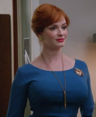 Joan's blue 3/4 sleeve dress on Mad Men