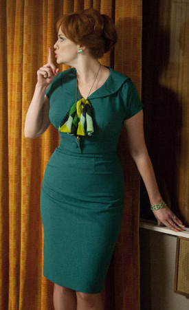 Joan's teal green dress on Mad Men