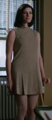 Megan's beige drop waist dress on Mad Men